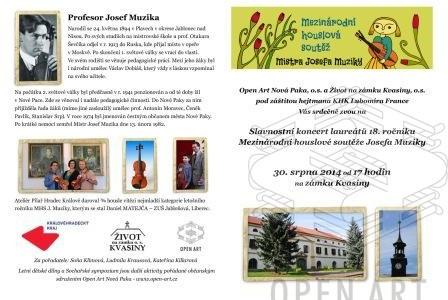 Pozvánka na Slavnostní koncert laureátů 18. ročníku Mezinárodní houslové soutěže Josefa Muziky